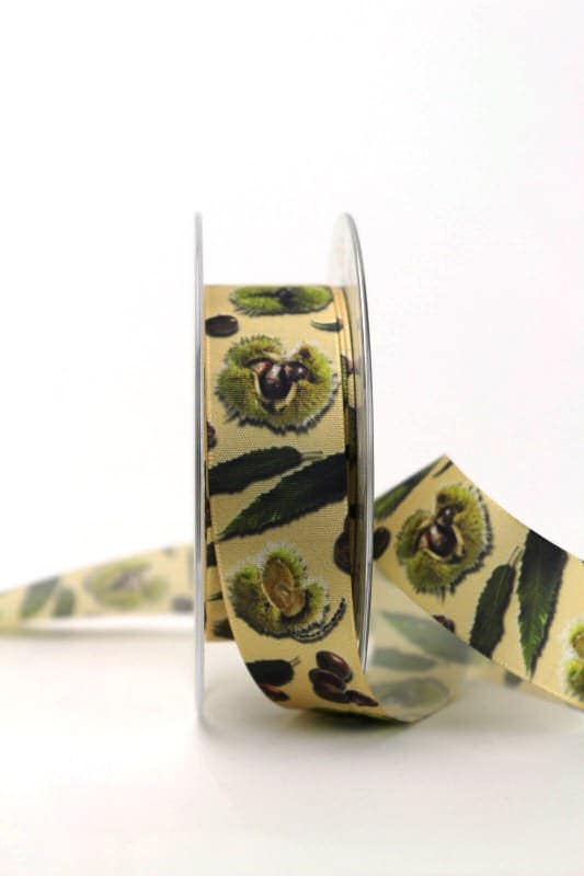 Satinband Kastanien, 25 mm breit - sonderangebot, satinband, bedrucktes-satinband, 20-rabatt