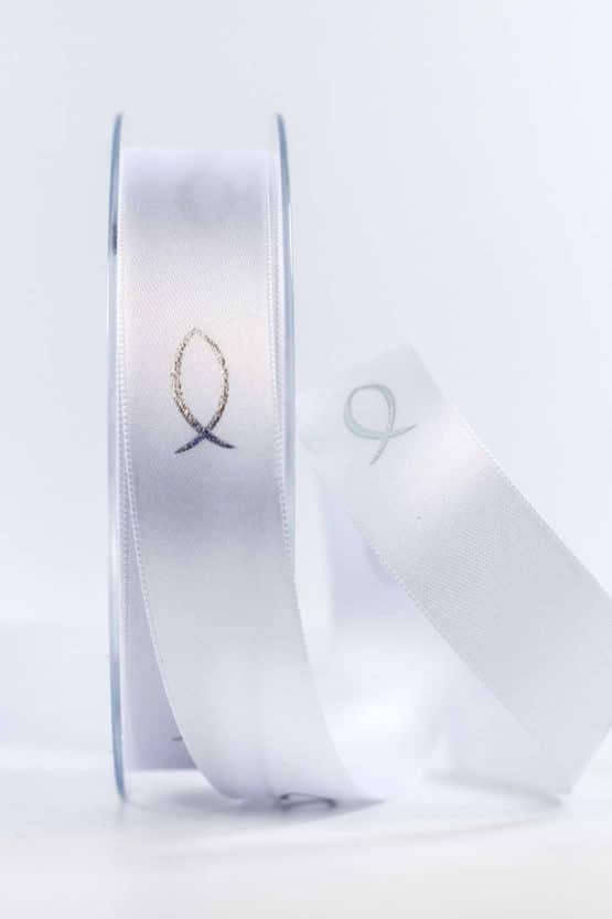 Satinband Fische für Kommunion/Konfirmation, 25 mm breit - kommunion-konfirmation