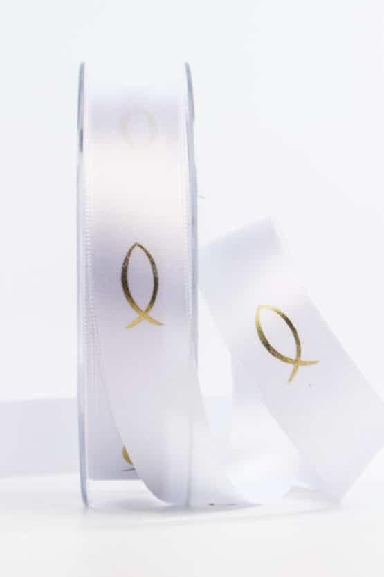 Satinband Fische für Kommunion/Konfirmation, gold, 25 mm breit - kommunion-konfirmation