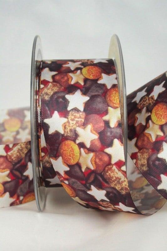 Satinband Lebkuchen, 40 mm breit - weihnachtsband, satinband, bedrucktes-satinband, bedruckte-weihnachtsbander
