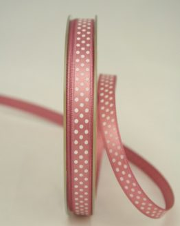 altrosa Satinband mit weissen Punkten, 10 mm breit