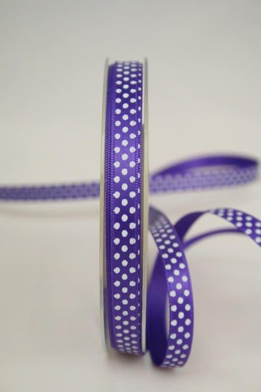 lila Satinband mit Pünktchen, 10 mm breit