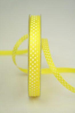 Satinband mit Pünktchen, 10 mm breit, zitronengelb