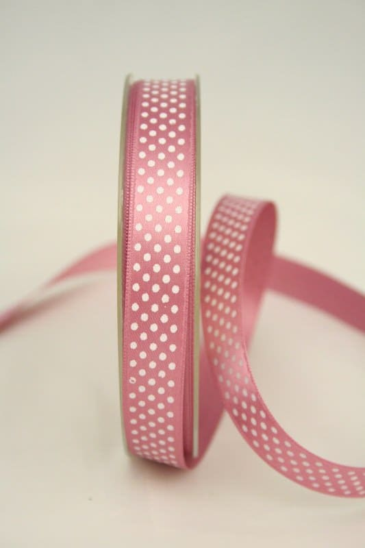 Satinband mit Pünktchen, 15 mm, altrosa - satinband, bedrucktes-satinband, bedruckte-everyday-bander