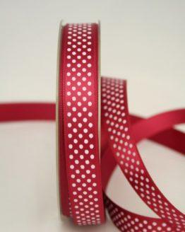Satinband mit Pünktchen, 15 mm, bordeaux - satinband, bedrucktes-satinband, bedruckte-everyday-bander