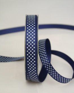 Satinband mit Pünktchen, 15 mm, dunkelblau - satinband, bedrucktes-satinband, bedruckte-everyday-bander