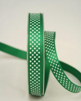 Satinband mit Pünktchen, 15 mm, grün - satinband, bedrucktes-satinband, bedruckte-everyday-bander