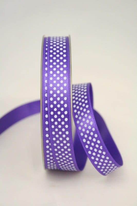 Satinband mit Pünktchen, 15 mm, lila - satinband, bedrucktes-satinband, bedruckte-everyday-bander
