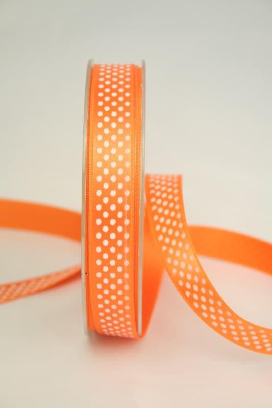 Satinband mit Pünktchen, 15 mm, orange - satinband, bedrucktes-satinband, bedruckte-everyday-bander