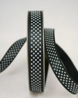 Satinband mit Pünktchen, 15 mm, schwarz - satinband, bedrucktes-satinband, bedruckte-everyday-bander