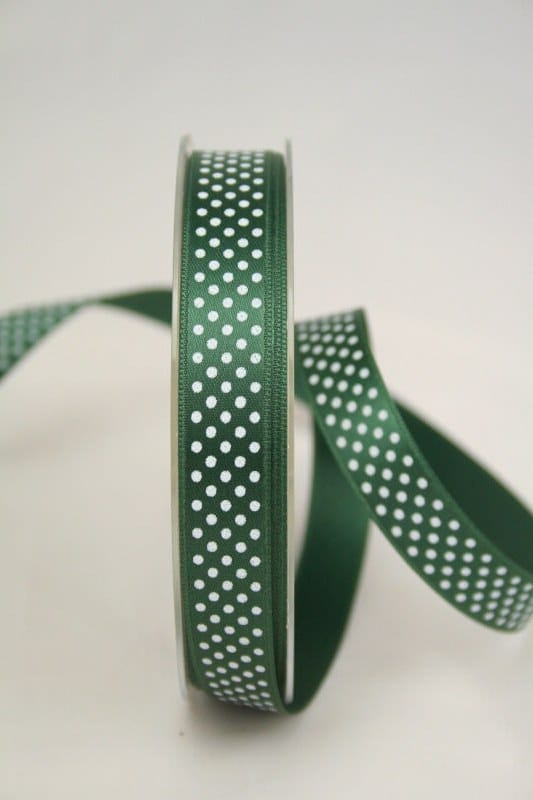 Satinband mit Pünktchen, 15 mm, tannengrün - satinband, bedrucktes-satinband, bedruckte-everyday-bander