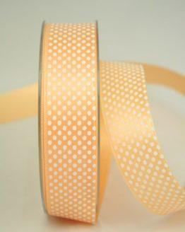 Satinband mit Pünktchen, 25 mm, apricot - satinband, bedrucktes-satinband, bedruckte-everyday-bander