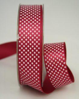 Satinband mit Pünktchen, 25 mm, bordeaux - satinband, bedrucktes-satinband, bedruckte-everyday-bander