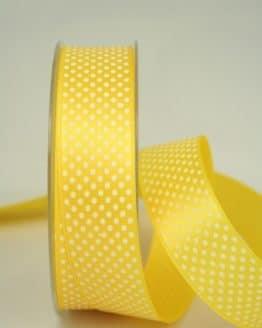Satinband mit Pünktchen, 25 mm, gelb - satinband, bedrucktes-satinband, bedruckte-everyday-bander