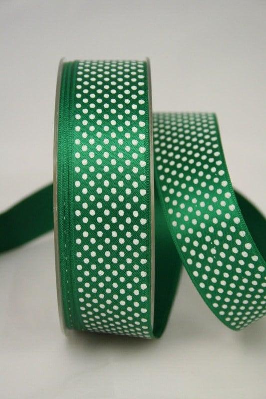 Satinband mit Pünktchen, 25 mm, grün - satinband, bedrucktes-satinband, bedruckte-everyday-bander