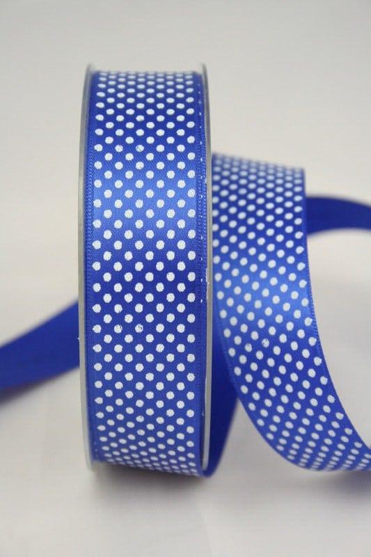Satinband mit Pünktchen, 25 mm, königsblau - satinband, bedrucktes-satinband, bedruckte-everyday-bander