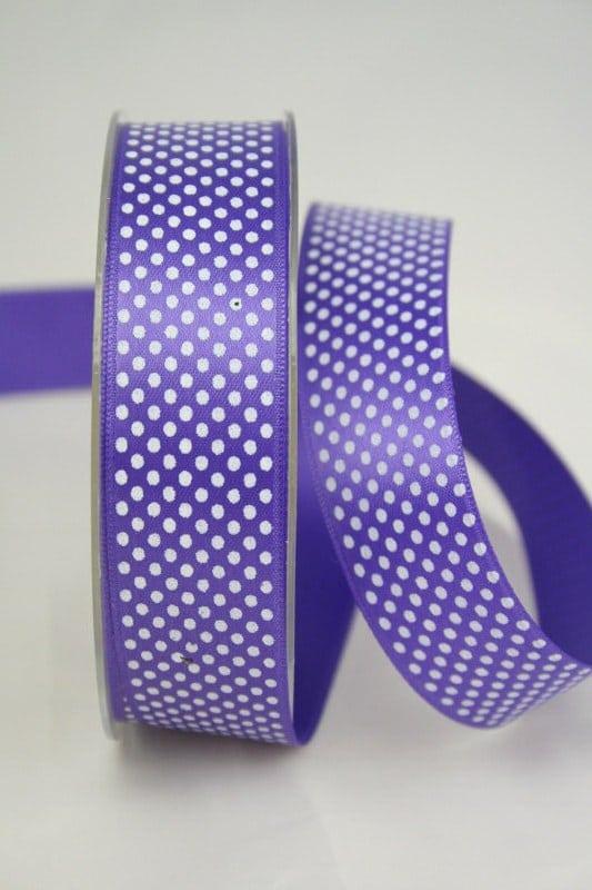 Satinband mit Pünktchen, 25 mm, lila - satinband, bedrucktes-satinband, bedruckte-everyday-bander
