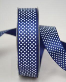 Satinband mit Pünktchen, 25 mm, marine - satinband, bedrucktes-satinband, bedruckte-everyday-bander