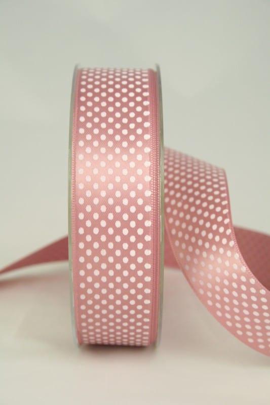 Satinband mit Pünktchen, 25 mm, altrosa - satinband, bedrucktes-satinband, bedruckte-everyday-bander