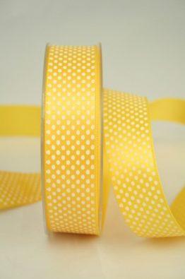 Satinband mit Pünktchen, 25 mm breit, sonnengelb
