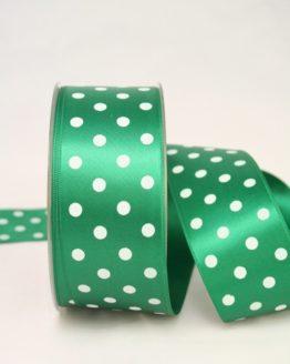 Satinband mit Pünktchen, 40 mm, grün - satinband, bedrucktes-satinband, bedruckte-everyday-bander
