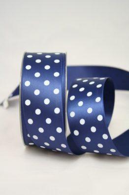 Satinband mit Pünktchen, 40 mm breit, dunkelblau