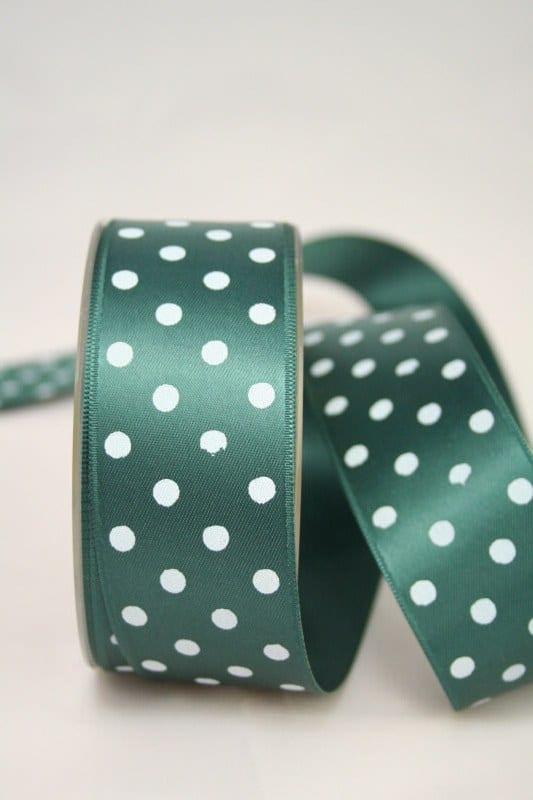 Satinband, dunkelgrün, 40 mm, weisse Punkte