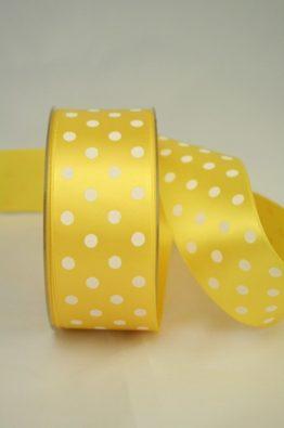 Satinband gelb, 40 mm, Pünktchen, gelb