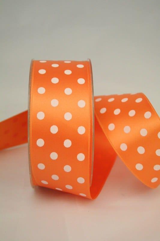 Satinband, 40 mm breit, orange mit weissen Punkten