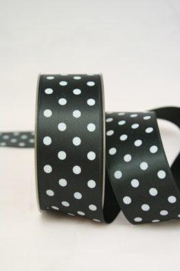 Satinband mit Pünktchen, 40 mm, schwarz und weiße Punkte