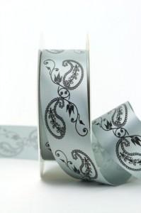 Extravagantes Satinband mit Paisley-Dekor, grau, 40 mm breit - sonderangebot, satinband, bedrucktes-satinband, bedruckte-everyday-bander, 30-rabatt