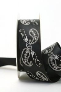 Extravagantes Satinband mit Paisley-Dekor, schwarz, 40 mm breit - sonderangebot, satinband, bedrucktes-satinband, bedruckte-everyday-bander, 30-rabatt