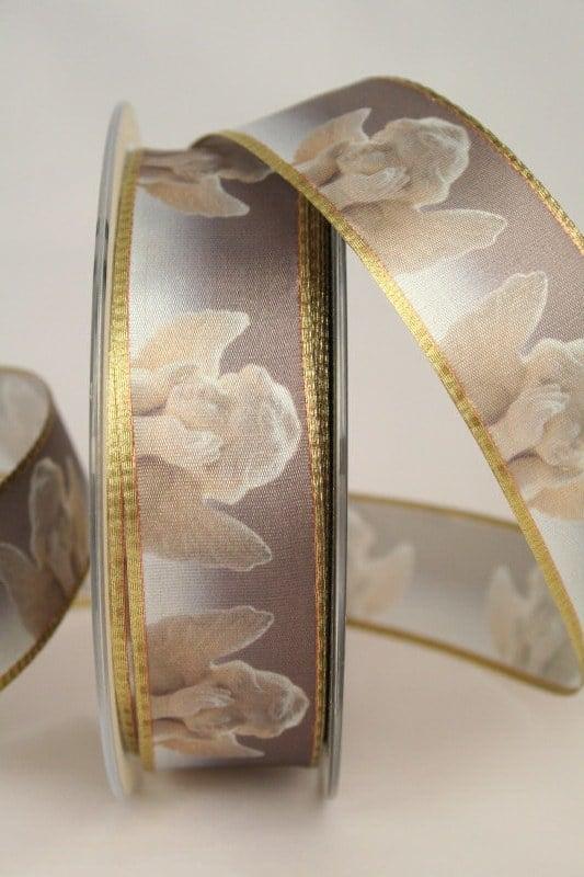 Satinband Putten, gold, 25 mm breit - weihnachtsband, satinband, bedrucktes-satinband, bedruckte-weihnachtsbander