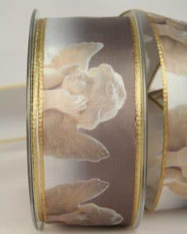 Satinband Putten, gold, 40 mm breit - weihnachtsband, satinband, bedrucktes-satinband, bedruckte-weihnachtsbander