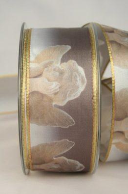 Satinband Putten, 40mm grau-gold (628320-40-715) - Weihnachtsband