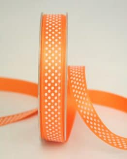 Satinband mit Pünktchen, 15 mm, orange - satinband, bedrucktes-satinband, bedruckte-everyday-bander