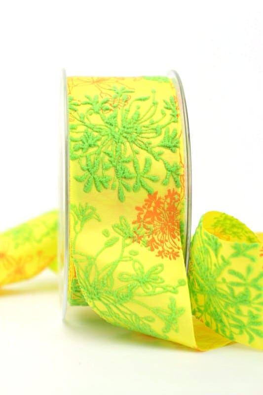 Satinband gelb mit Blumenmotiv, 40 mm breit - sonderangebot, satinband, bedrucktes-satinband, bedruckte-everyday-bander, 30-rabatt