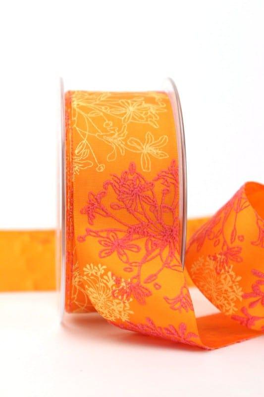 Satinband orange mit Blumenmotiv, 40 mm breit - sonderangebot, satinband, bedrucktes-satinband, bedruckte-everyday-bander, 30-rabatt
