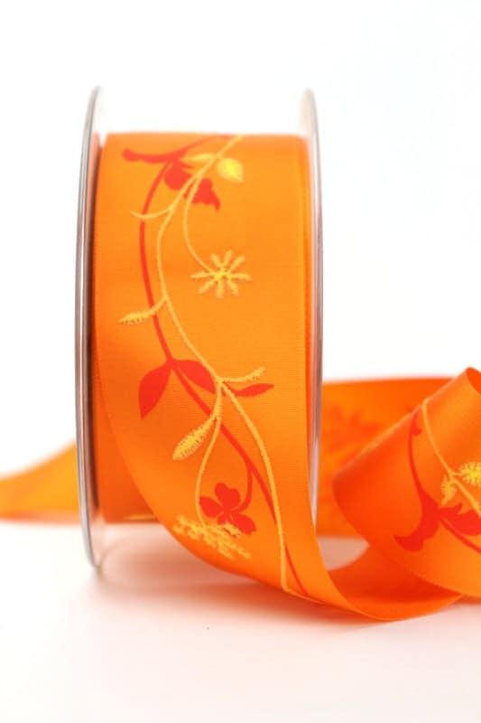 Satinband orange-gelb mit Blumenranke, 40 mm breit - sonderangebot, satinband, bedrucktes-satinband, bedruckte-everyday-bander, 20-rabatt