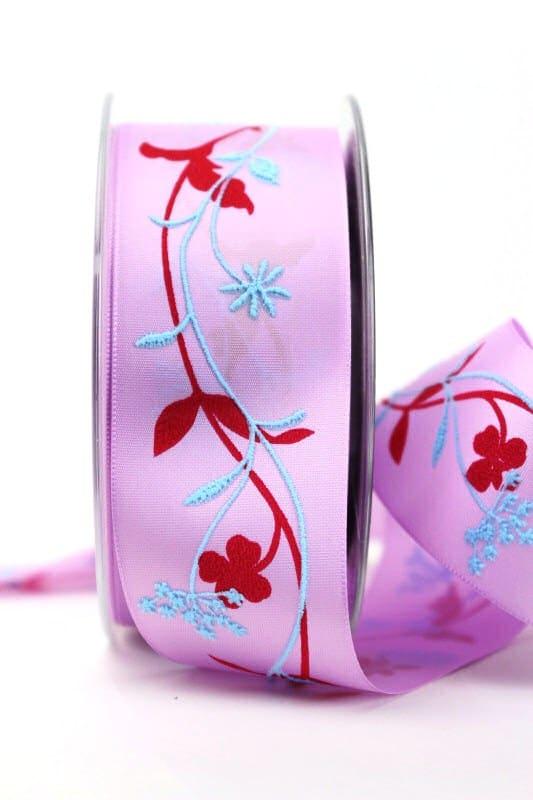 Satinband flieder-hellblau mit Blumenranke, 40 mm breit - sonderangebot, satinband, bedrucktes-satinband, bedruckte-everyday-bander, 20-rabatt
