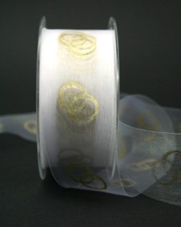 Dekoband weiß mit goldenen Ringen, 40 mm breit - hochzeitsbaender