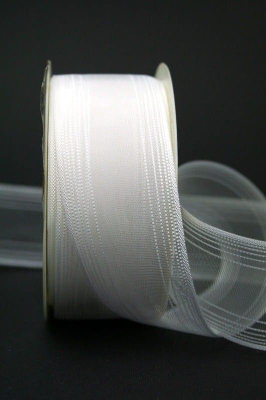 Schleifenband für Hochzeitsfloristik, weiß, 40 mm breit - hochzeitsbaender