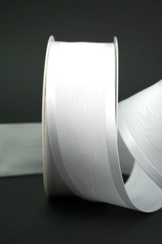 Schleifenband Satin/Moiré, weiß, 40 mm breit - hochzeitsbaender