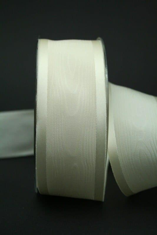 Schleifenband Satin/Moiré, creme, 40 mm breit - hochzeitsbaender