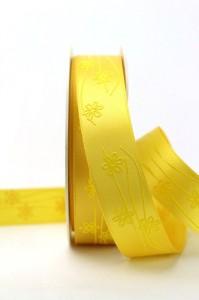 Satinband mit feinen Blumen, gelb, 25 mm breit - sonderangebot, satinband, bedrucktes-satinband, bedruckte-everyday-bander, 30-rabatt