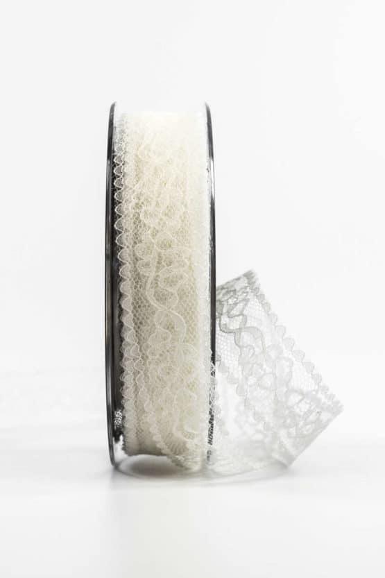 Feines Spitzenband, creme, 25 mm breit - spitzenbaender, hochzeitsbaender, anlaesse