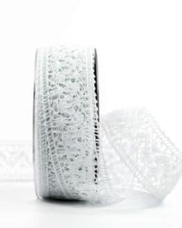 Häkelspitze, weiß, 38 mm breit - spitzenbaender, hochzeitsbaender, anlaesse