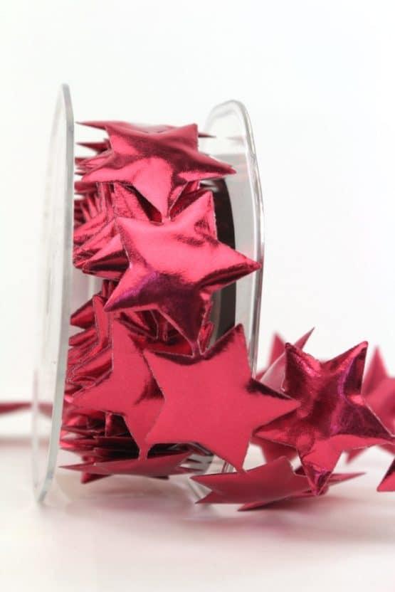 Sternengirlande rot, 40 mm - weihnachtsband, dekogirlande