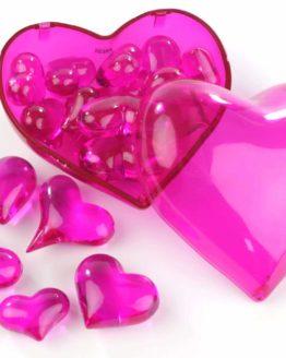 Streuherzen Acryl pink, Größen sortiert, 16 St. - hochzeitsaccessoires, valentinstag