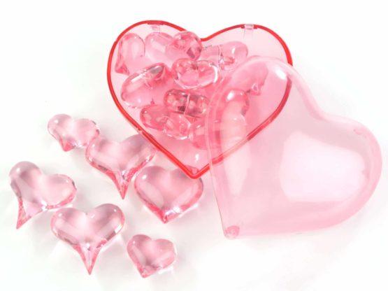 Streuherzen Acryl rosa, Größen sortiert, 16 St. - hochzeitsaccessoires, valentinstag